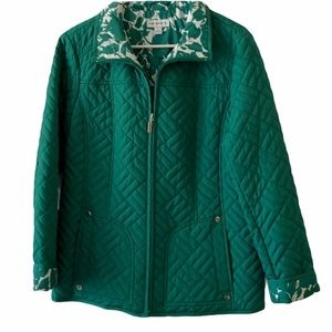 Susan Graver green quilted jacket small